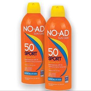 2 Pack NO-AD Sport  Spray Sunscreen, SPF 50 NEW